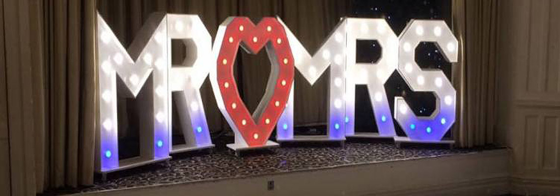MR & MRS light up giant letter hire